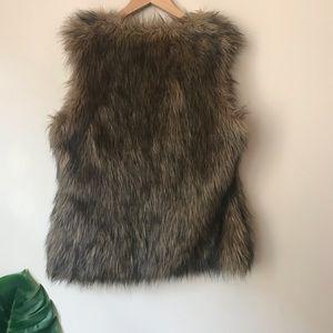 Xhilaration Jackets & Coats - Xhilaration | Brown Faux Fur Vest Open Front Large